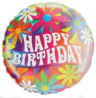 Folienballon Happy Birthday Blumen AUSLAUFARTIKEL Ø 45cm