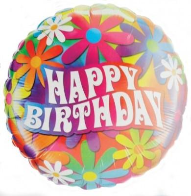 Folienballon Happy Birthday Blumen AUSLAUFARTIKEL Ø 45cm