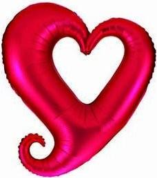 Folienballon Herz im Herz Ø 90cm