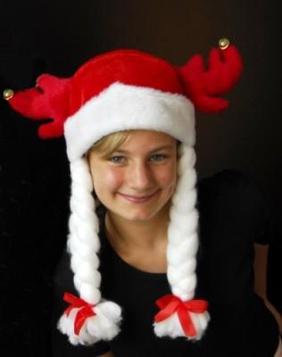 Weihnachtsmütze Elch  rot mit 2 Zöpfen