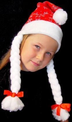 Kinder Weihnachtsmütze Glitzer rot