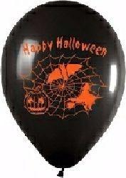 10 schwarze Rundballons Happy Halloween Ø 30 cm
