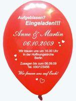 """Bedruckte Rundballons """"Einladung Hochzeit"""""""