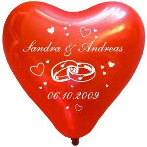 """100 bedruckte Herzballons """"Hochzeitsringe"""""""