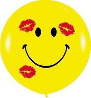 1 Riesenballon Smiley KISS Ø 100cm