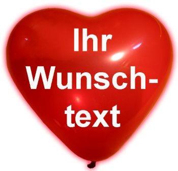 "100 bedruckte Herz-Luftballons ""Ihr Wunschtext"""