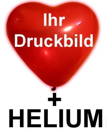 60 bedruckte Herzballons Ø 25cm inkl.  Helium-Kit