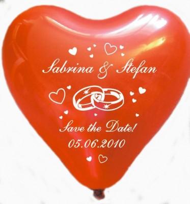 """100 bedruckte Herzballons """"Hochzeitsringe + SAVE THE DATE"""""""