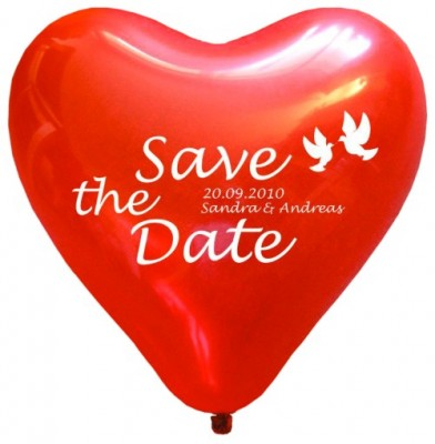 "100 bedruckte Herzballons ""SAVE THE DATE"""