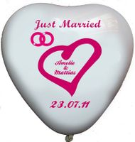 "100 bedruckte Herzballons ""Just Married"""