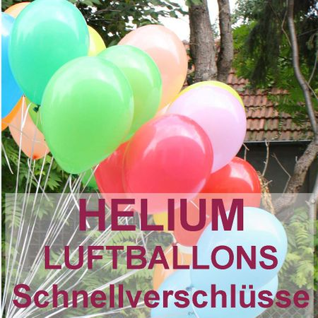 Ballongas Einwegflasche inkl. Luftballons und Schnellverschlüsse