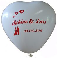 "100 bedruckte Herzballons ""Perfektes Paar"""