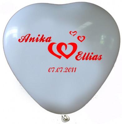 """100 bedruckte Herzballons """"Zwei Herzen"""""""