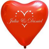 "100 bedruckte Herzballons ""Romantik"""
