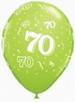 """10 Rundballons """"Zahl 70"""" von Qualatex Ø 13cm"""
