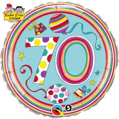 Folienballon Zahl 70 Rachel Ellen Ø 45cm
