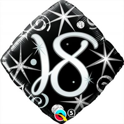 Folienballon Zahl 18 schwarz Ø 45cm