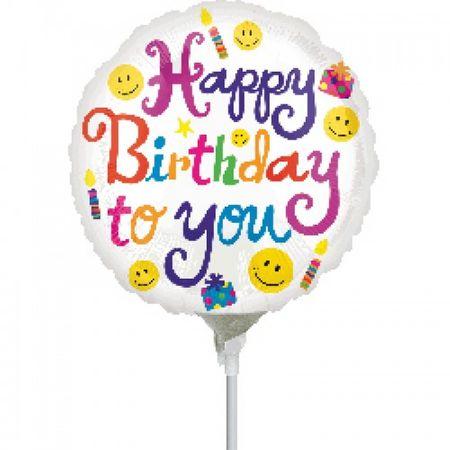 Folienballon Happy Birthday to You Ø 10cm