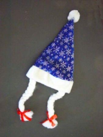 Weihnachtsmütze in Kindergröße mit 2 Zöpfen blau