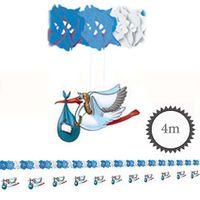 Girlande mit Aufhänger Storch blau 4m