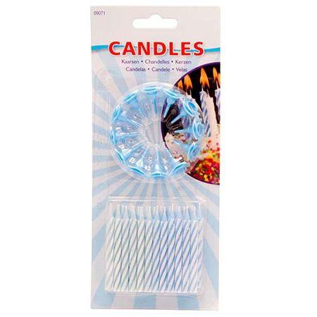 Kerzen Set für Geburtstag blau 24 Stk.