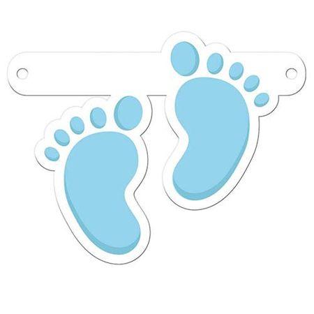Aufhänger für Grußkette Babyfuß blau