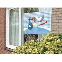 Fensterfahne Storch blau 60 x 90 cm