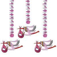 Hängespirale Storch rosa 3 Stk.