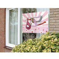 Fensterfahne Storch rosa 60 x 90 cm
