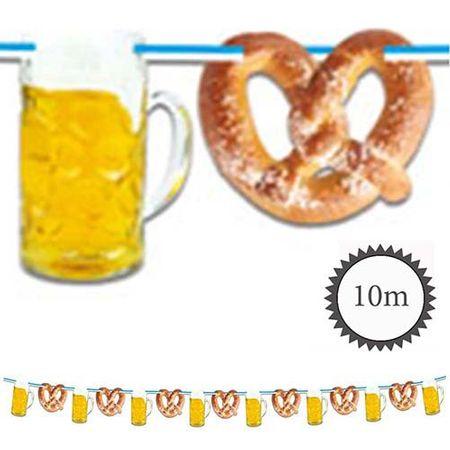 Papier Girlande Bierkrug und Brezel 10m