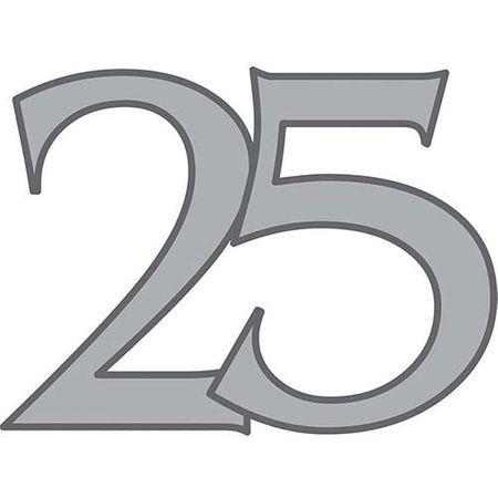Dekoschild Zahl 25 silber 47cm
