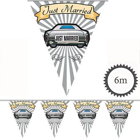 Wimpelkette Just Married Auto 6m
