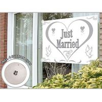 Fenster Fahne Just Married 1,50 x 1 m Bild 1